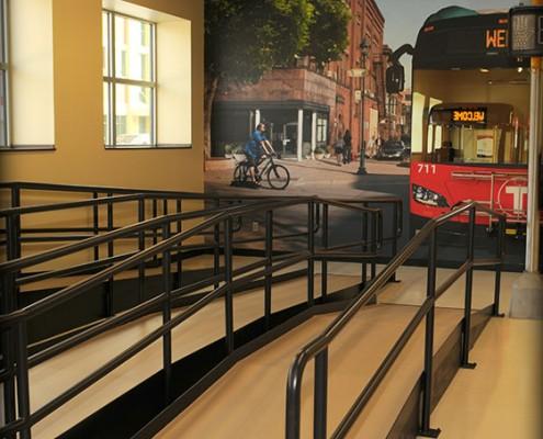 Metro Bus headquarters interior ramp